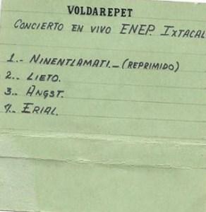 Titulos del cassette de Voldarepet en vivo en la ENEP